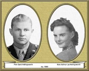 "Pren Hollingsworth and Mary Kathryn ""Kay"" Lay Hollingsworth (about 1944)"